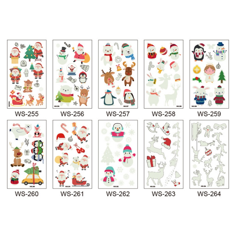 Etiqueta engomada del tatuaje luminoso linda de la historieta de la Navidad decoración festiva suministros tatuaje adhesivo de moda temporal impermeable - 5