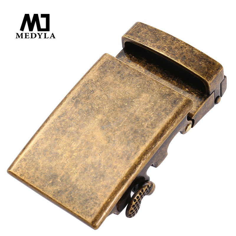 MEDYLA Hard Metal Automatic Buckle Fashion Retro Copper Belt Buckle For Men's Business Belt Accessories Matte Black Buckle 3.6cm