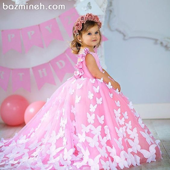 Butterfly Baby Girls Birthday Party Dresses Pink Dresses With Butterfly Girls Celebration Pageant Dresses Ball Gowns Custom Made