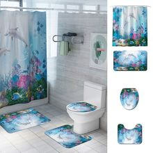 4pcs Sea Coral Dolphins Printed Bath Shower Waterproof Curtain Bedroom Carpet Curtain Mat Set Non-Slip Flannel Bath Rug Bedroom