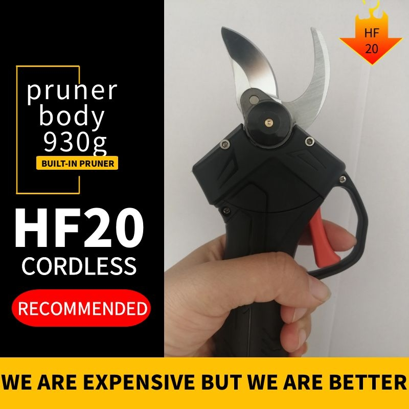 HDF20 cordless  pruning shears Fast charging dual battery  Li ion Battery Rechargeable Electric Cordless  Garden Tools Electric Scissors    - title=