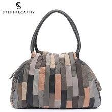 Sc design da marca de retalhos couro do vintage mulheres ombro saco casual grande pele carneiro hobo estilo retro feminino bolsas viagem tote