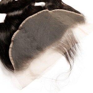 Image 5 - Vücut dalga 13x6 13x4 dantel Frontal kapatma ile bebek saç MS Lula brezilyalı % 100% insan saçı remy saç ön koparıp siyah kadınlar için