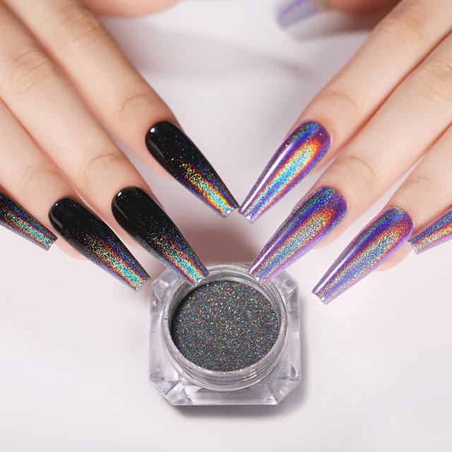 1 Box Holographic Nail Glitter Powder Pigment Chrome Shining Mirror Silver Nail Dust for Nail Tips Nail Art Decoration Pigment