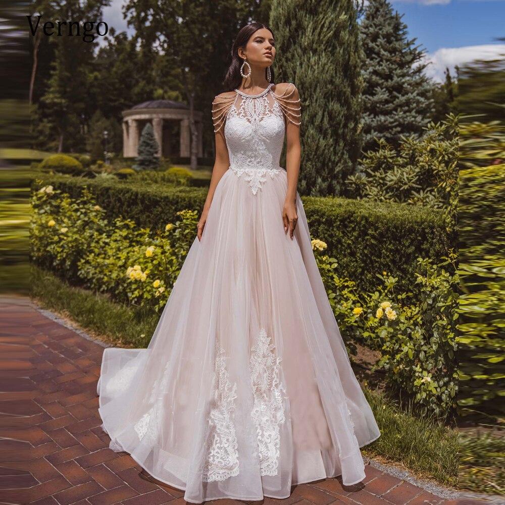Verngo, винтажное свадебное платье трапециевидной формы, Пляжное, 2021, нежное, кружевное, аппликация, тюль, кантри, бохо, свадебные платья с бусинами на рукавах Свадебные платья    АлиЭкспресс