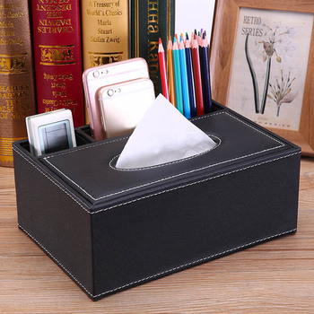 PU Leather Tissue Box Cover Desk Makeup Cosmetic Organizer Remote Controller Phone Holder Home Office Tissue Paper Napkin Box 6