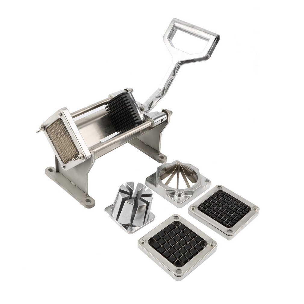 Silver Color Stainless Steel Rust-proof Pusher Block Potato French Fry Fruit Vegetable Cutter Slicer Commercial