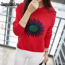 Women Fashion Korean Sunflower Embroidery Sweater Femme Casual O Neck Knitted Red Warm Pullovers Crop Tops 2019 Autumn Winter