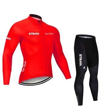 2019 strava outono manga longa camisa de ciclismo conjunto bib calças ropa ciclismo roupas de bicicleta mtb camisa uniforme roupas masculinas 19