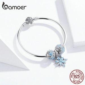 Image 4 - Bamoer oryginalna 925 Sterling Silver zima Snowflake księżniczka bransoletka dla kobiet Charm bransoletka luksusowe europejskiej Bijoux SCB833