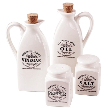 4 Pieces Of Ceramic Seasoning Jar with Wooden Cork Kitchen Condiment Bottle Flavoring Jar Gift Box Packaging Vinegar Oil Pepper