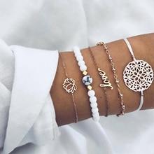 Marble Lotus Heart Bracelet Set Bohemian Women Multi-layer Beaded Vintage Hollow Pattern Wholesale