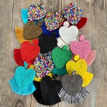 Bohemian Bead Tassel Drop Earrings for Women Vintage Wedding Trendy Fringed Girls Party Gifts Colorful Heart Statement Earrings
