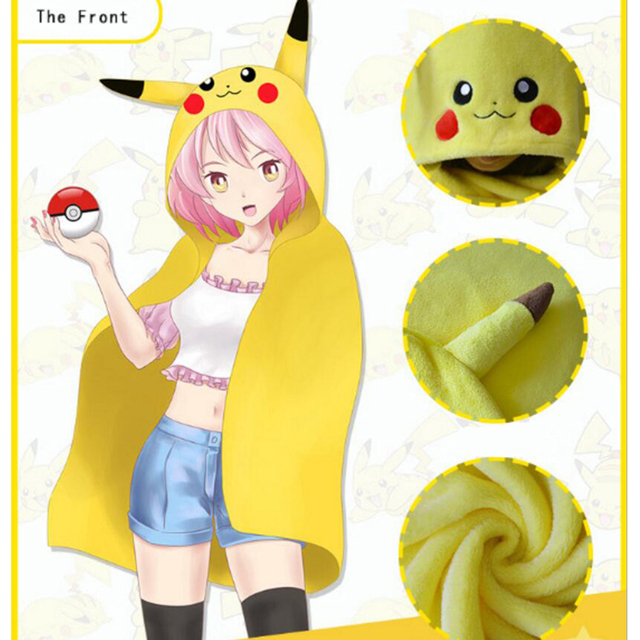 lovely Pikachu Dratini Jigglypuff Mew cloak shawl Japan Cartoon animation Elf cosplay kawaii toys for girl Children plush gifts