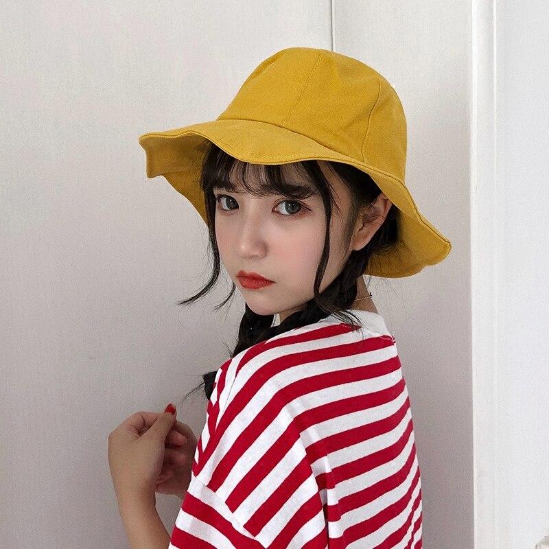 Панама женская универсальная, мягкая желтая шляпа от солнца в корейском и японском стиле, для студенток, лето