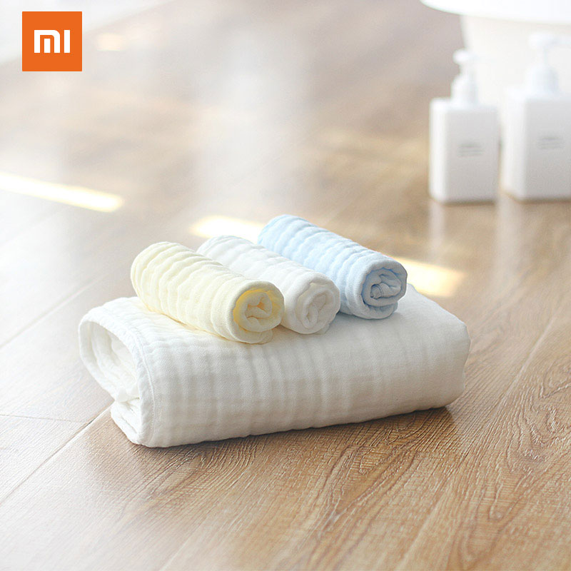 6Pcs Xiaomi Square Baby Face Towel Small Soft Towel 100% Cotton Infant Wipe Cloth Gauze 25X25CM Water Absorption