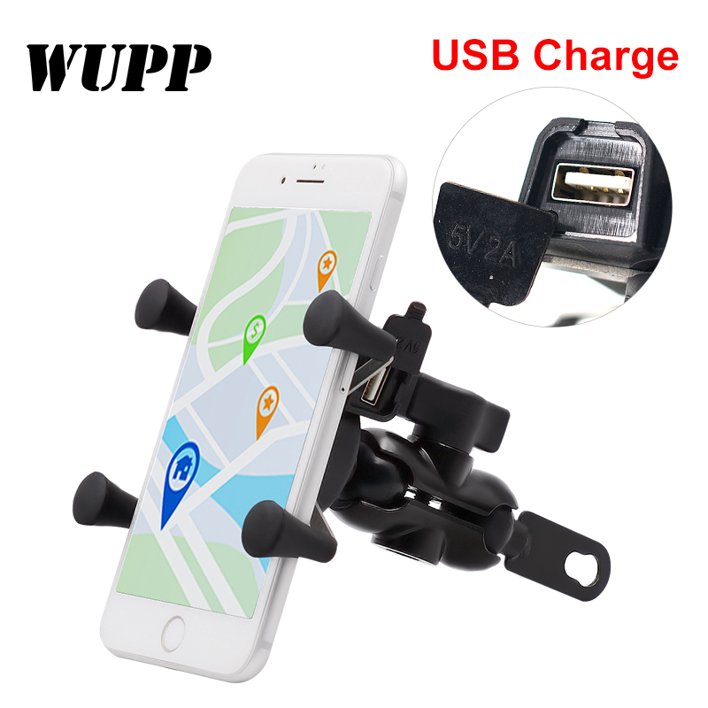 WUPP Universal 3.5-6 Inch Mobile PHONE HOLDER USB Rechargeable 360 Degree Rotation Bicycle Motorcycle Rearview Mirror Fixed dfdf