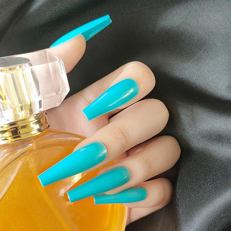 2020 novo estilo 24 pcs imprensa em unhas longo azul ballet wear manicure wearable capa completa