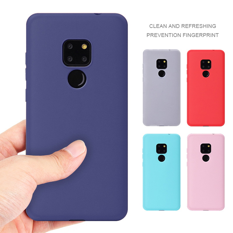 Candy Color Soft TPU <font><b>Case</b></font> For <font><b>Huawei</b></font> P20 Lite P30 Pro Mate 20 X <font><b>Y7</b></font> Prime Y9 <font><b>2018</b></font> Anti-Knock Non-Slip Cover for Honor 7C Pro 7A image