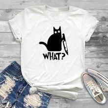 Cat What T Shirt Murderous Cat Knife Funny T shirt Women O-neck Poleras Mujer Loose Tshirt