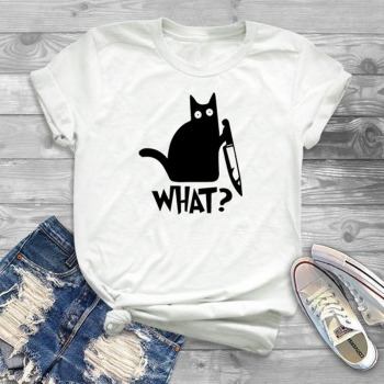 Cat What T Shirt Murderous Cat Knife Funny T shirt Women O-neck Poleras Mujer Loose Tshirt Cotton Women Black Tee Shirt Femme