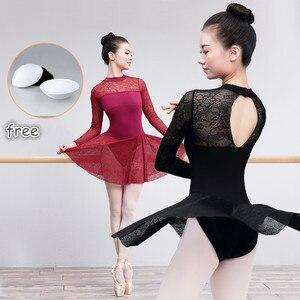 Image 1 - Профессиональный балетный купальник для взрослых, сексуальное кружевное балетное платье для женщин, тренировочные костюмы для учителя, женская танцевальная одежда черного и красного цвета