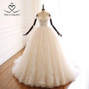 Image 1 - Swanskirt Appliques Beaded A Line Wedding Dress Sweethea Off Shoulder Princess Court Train Bridal Gown Vestido de Noiva A265
