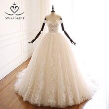 Swanskirt אפליקציות חרוזים אונליין חתונת שמלת Sweethea כבוי כתף נסיכת בית משפט רכבת כלה שמלת Vestido דה Noiva A265