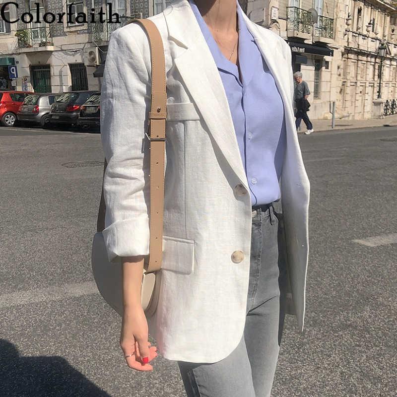 Colorfaith New 2019 Autumn Winter Women's Jackets White Turn-down Collar Outerwear England Style Linen Cardigan Tops JK8806