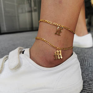 Initial Anklets Gold-Chain Boho Stainless-Steel Women Letter for English