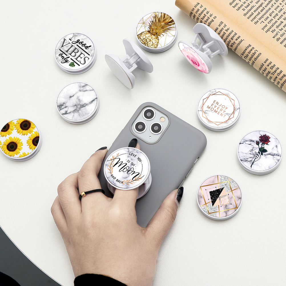 Marble Round Universal Folding Stand For Mobile Phone Holder For IPhone 11 Pro X 7 8 Plus For Samsung For Huawei For Xiaomi Case