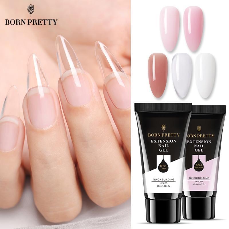 BORN PRETTY 30 мл акриловый Быстрый гель для наращивания ногтей лак для ногтей розовый прозрачный кристалл отмачиваемый УФ акриловый гель для ног...