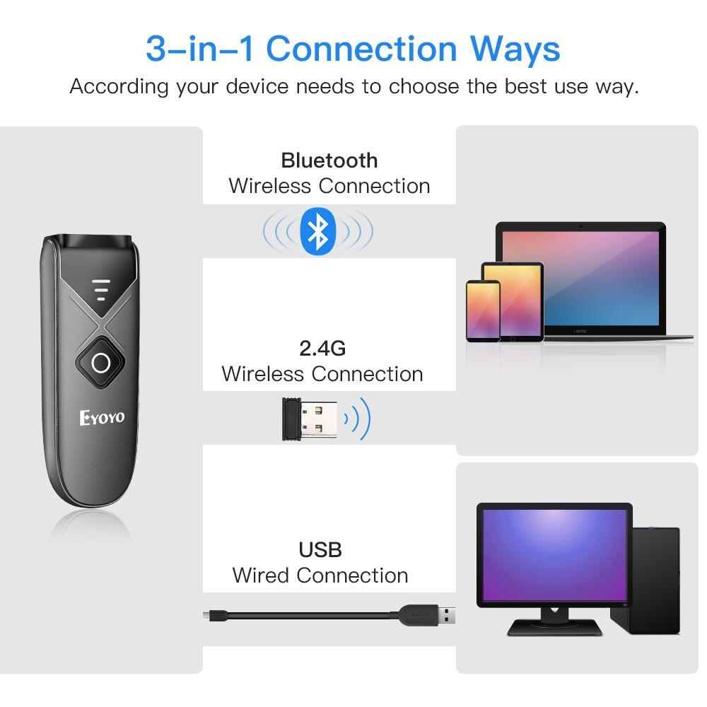 Eyoyo EY-015 Mini lecteur de codes à barres USB filaire/Bluetooth/ 2.4G sans fil 1D 2D QR PDF417 code à barres pour iPad iPhone Android tablettes PC - 2