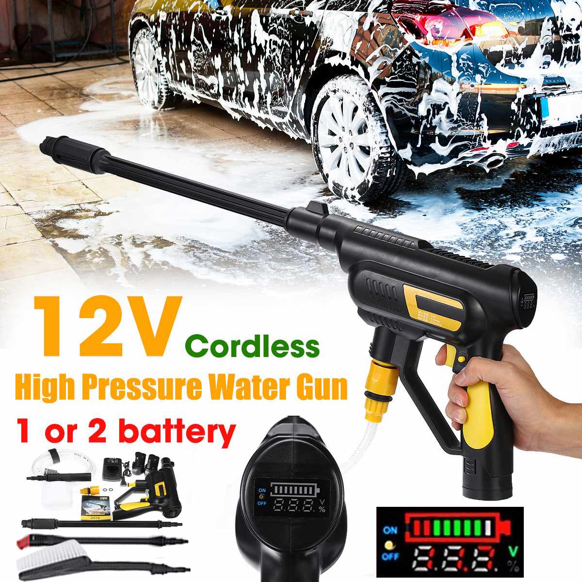 Car Washer 12V Cordless Portable Pressure Clean Car Portable Water Guns With Pot Washing Machine Electric Cleaning Device Home