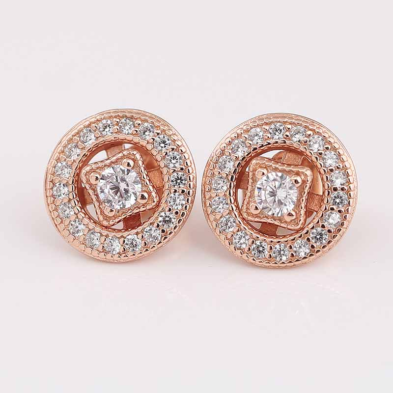 Original Rose Vintage Allure With Crystal 925 Sterling Silver Studs Earrings For Women Wedding Gift Fine Birthday Jewelry