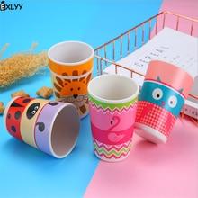 BXLYY Горячая бамбуковое волокно мультфильм шаблон детская плоская Нижняя чашка ударопрочная детская питьевая чашка кухонные принадлежности. 8z