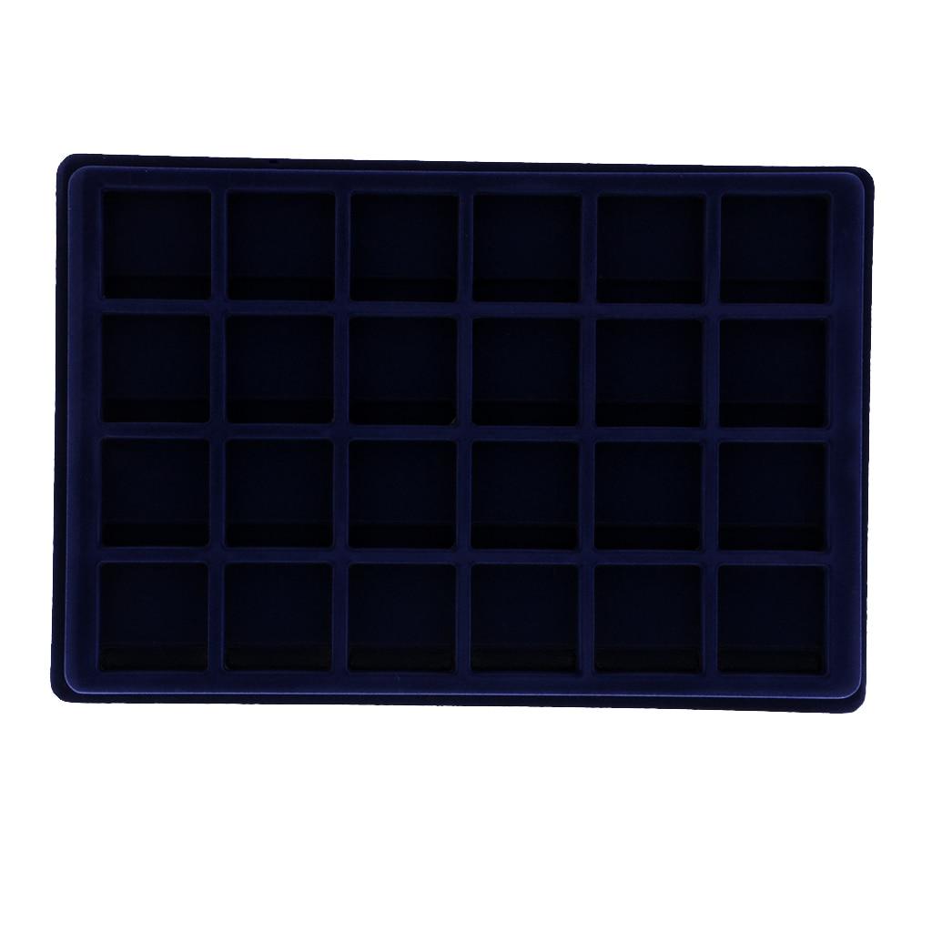 24 Grid Velvet Frame Coin/Jewelry Tray Showcase Display Organizer Tray -Blue