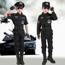 Полевая форма в стиле армии полиции, одежда для мальчиков, костюмы полицейских, Детский костюм для косплея, сценический костюм с длинными рукавами