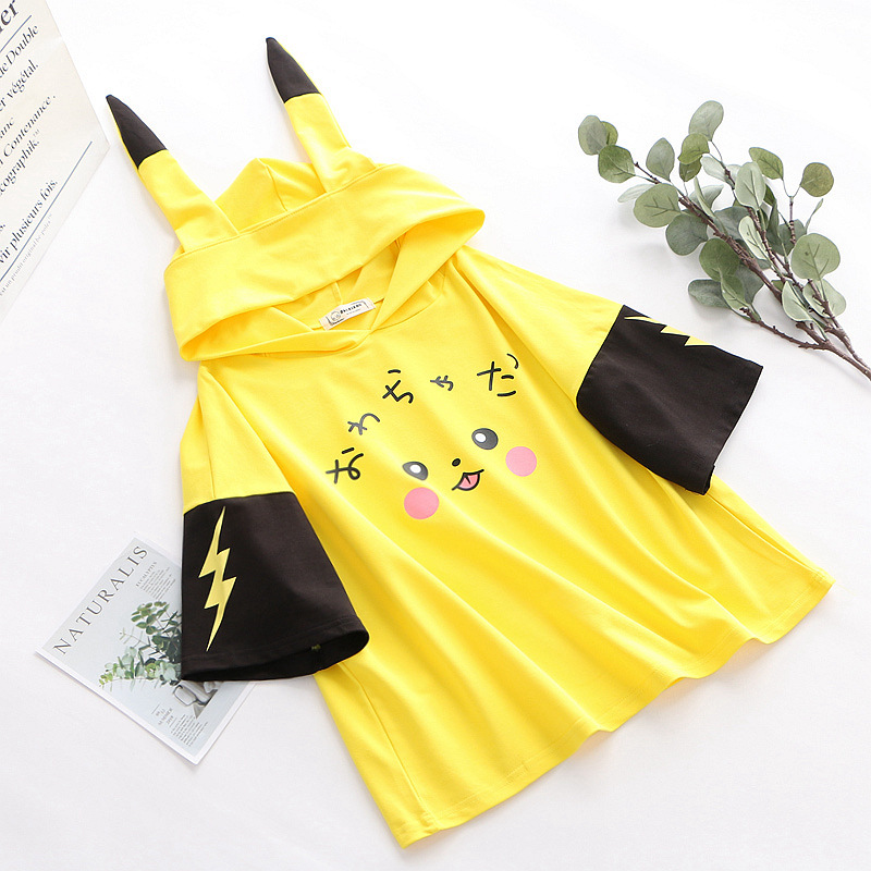 Anime-Pokemon-camiseta-falda-Cosplay-manga-corta-Hoodies-Anime-mujeres-lindas-ni-as-orejas-largas-de (3)