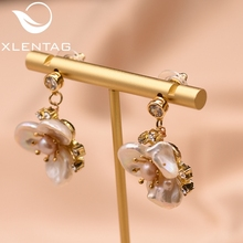 XlentAg Original Design Handmade Natural Fresh Water Pearl Flower Drop Earrings For Women Engagement Jewelry brincos GE0713 xlentag original design handmade natural fresh water pearl flower drop earrings for women wedding luxury jewelry kolczyki ge0713