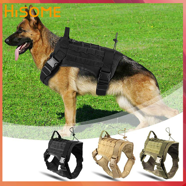 Military Dog Harness and Leash Set Durable Nylon Dog Training Vest Leash Lead for Medium Large Guard Guide Dogs Harness Vest