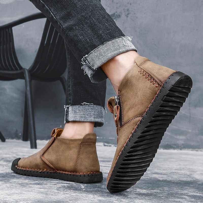 2019 Winter Heren Warm Casual Leer Mode Comfortabele Platte Laarzen Mannen Zip Schoenen Winter Mannelijke Wandelschoenen Big Size 48