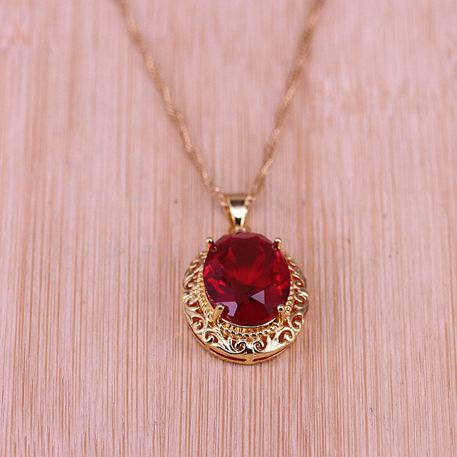 Risenj Dubai Luxury Style Many Colors Big Red Stone Gold Color Jewelry For Women Adjustable Ring Necklace Set Free Shipping 3