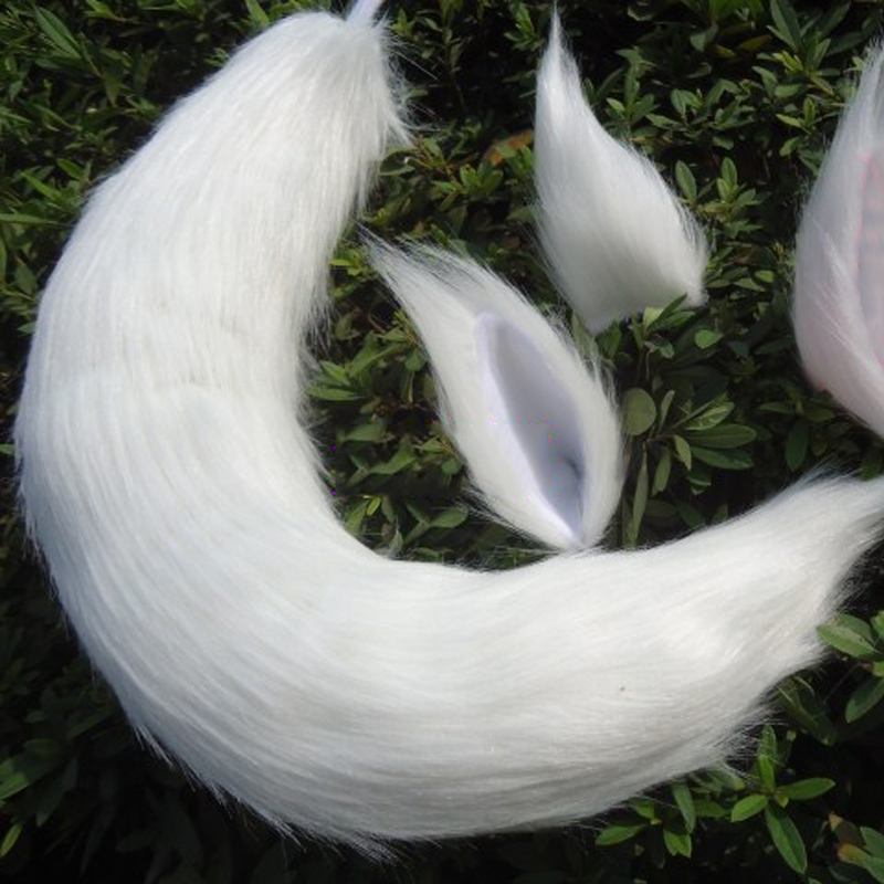 Japanese Anime Fox Tail and Ears Set Cosplay Props Kamisama Kiss Kamisama Hajimemashita Fox Ear Tail Plush Long Fur Neko Ears