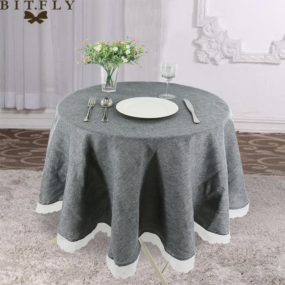 Table Cloth Round Wedding Party Table Cover Imitate Linen Lace Tablecloth Nordic Tea Coffee Tablecloths Home Kitchen Decor