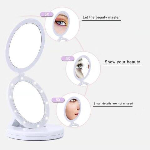 espelho de maquiagem dupla dobravel viagem portatil espelhos