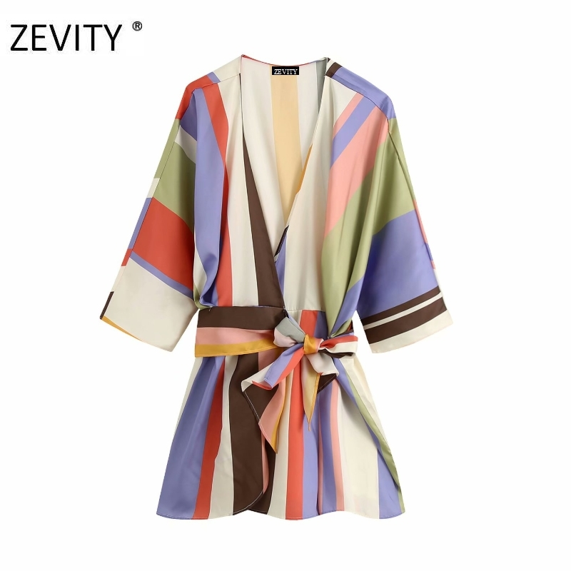 New women vintage colorful striped chic Playsuits female batwing sleeve casual sashes siamese cross v neck kimono rompers DS4161