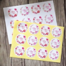 120pcs/pack Wreath Thank You White Packing Sticker Kids Stationery Paper Round Sealing Stickers