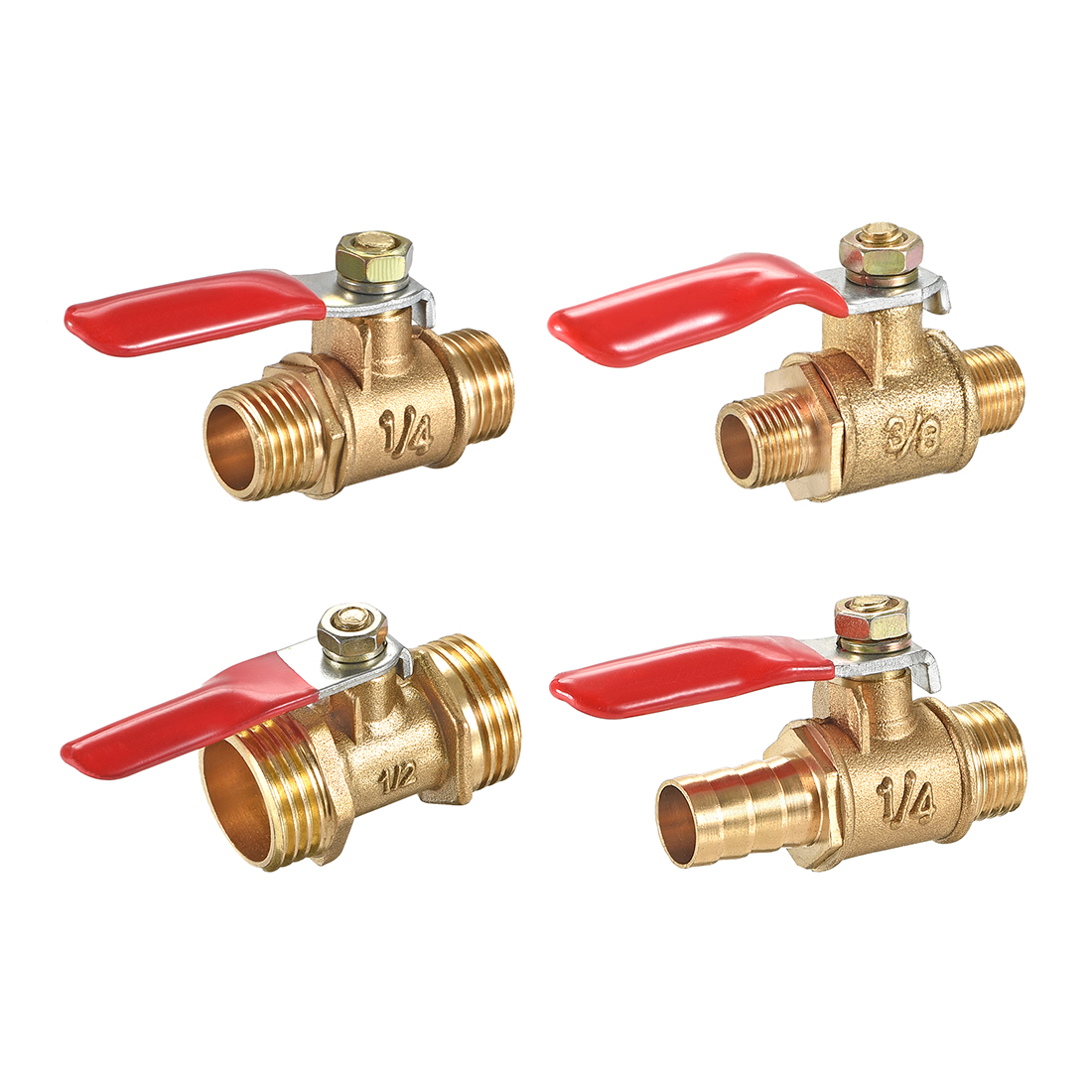 uxcell Brass Air Ball Valve Shut-Off Switch 1//4 Hose Barb to 1//4 Hose Barb Pipe Tubing Fitting Coupler 180 Degree Operation Handle 2Pcs