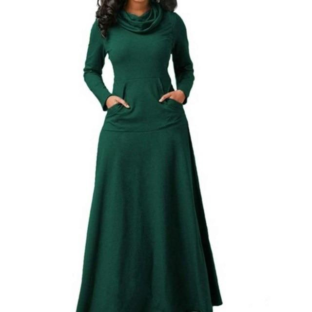 loose neck pocketed long dress 5